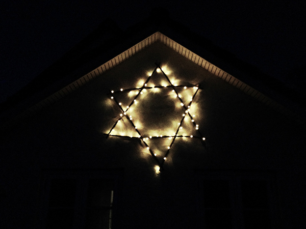 pileflet julestjerne husmur