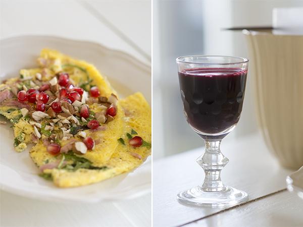 paleo omelet granatæble aronia shot