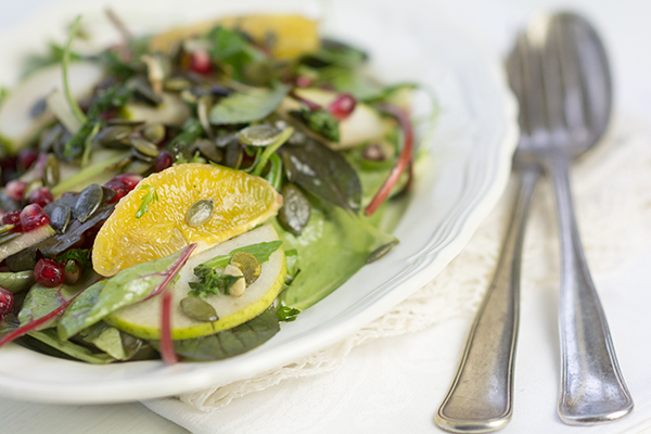 paleo salat appelsin pære granatæble persille