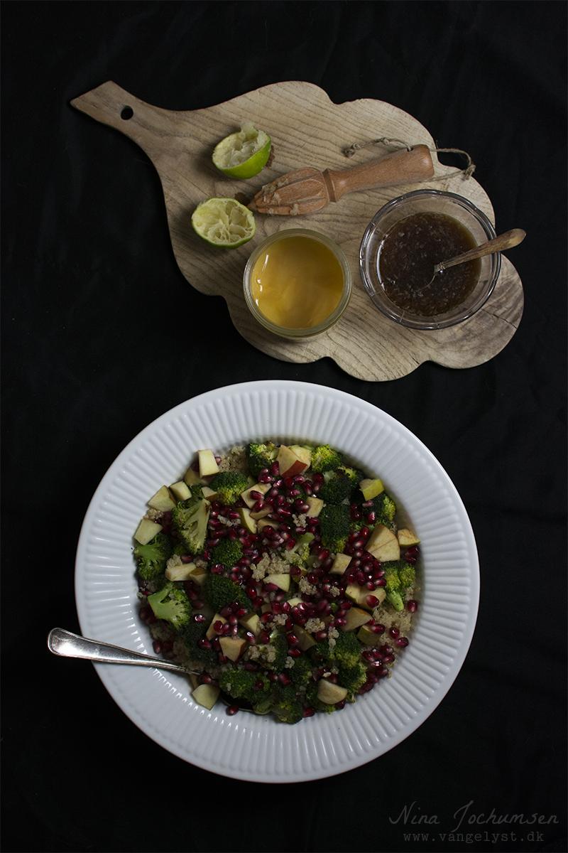 Quinoa salat med æble og granatæble - www.vangelyst.dk