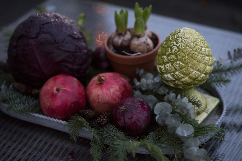 Juledekoration med grøntsager - www.vangelyst.dk