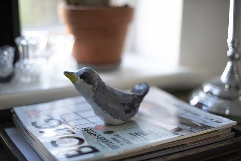 hjemmelavet fugl i ler