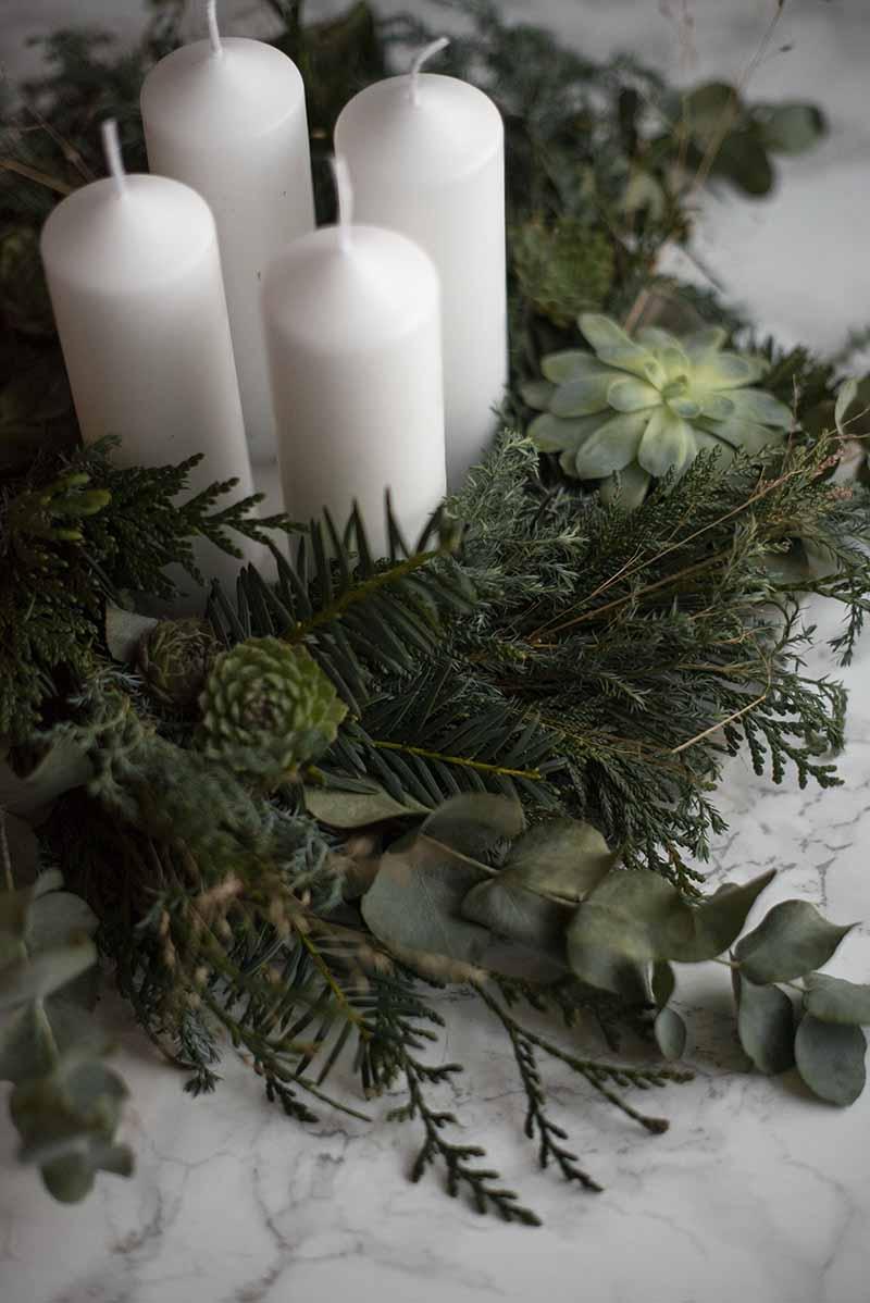 Adventskrans med eaucalyptus - www.vangelyst.dk